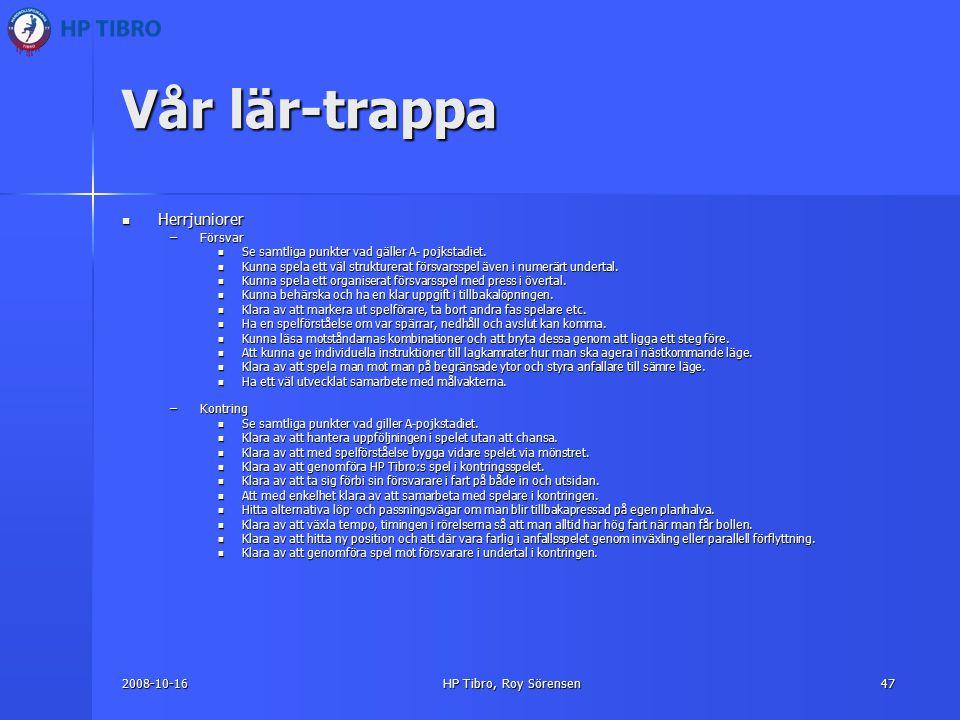 2008-10-16HP Tibro, Roy Sörensen47 Vår lär-trappa Herrjuniorer Herrjuniorer –Försvar Se samtliga punkter vad gäller A- pojkstadiet.