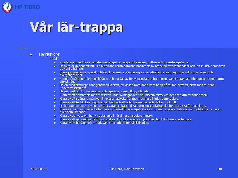2008-10-16HP Tibro, Roy Sörensen48 Vår lär-trappa Herrjuniorer Herrjuniorer –Anfall Ytterligare utveckla samarbetet med inspel och utspel till kantsex, mittsex och niometersspelarna.