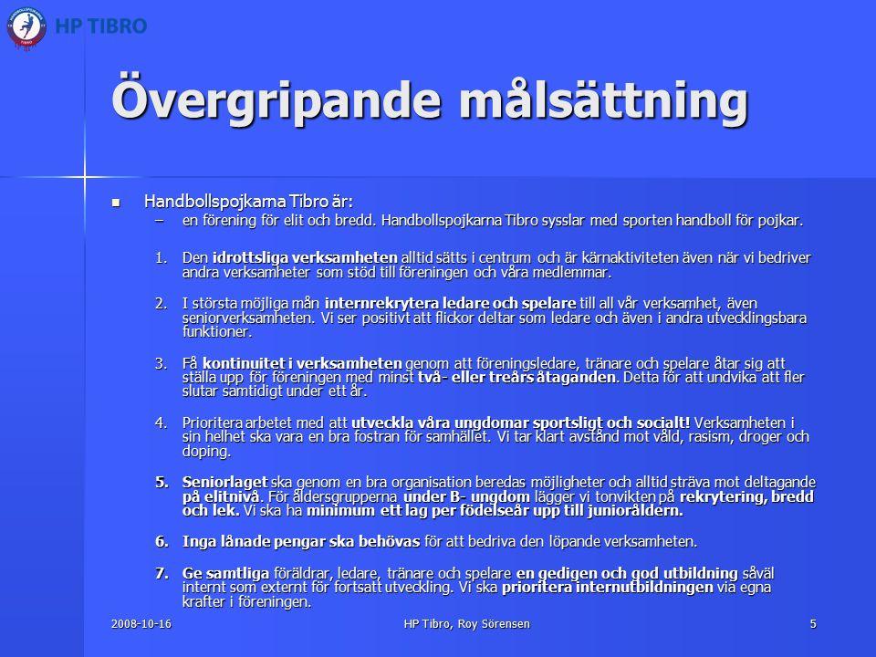 2008-10-16HP Tibro, Roy Sörensen5 Övergripande målsättning Handbollspojkarna Tibro är: Handbollspojkarna Tibro är: –en förening för elit och bredd.