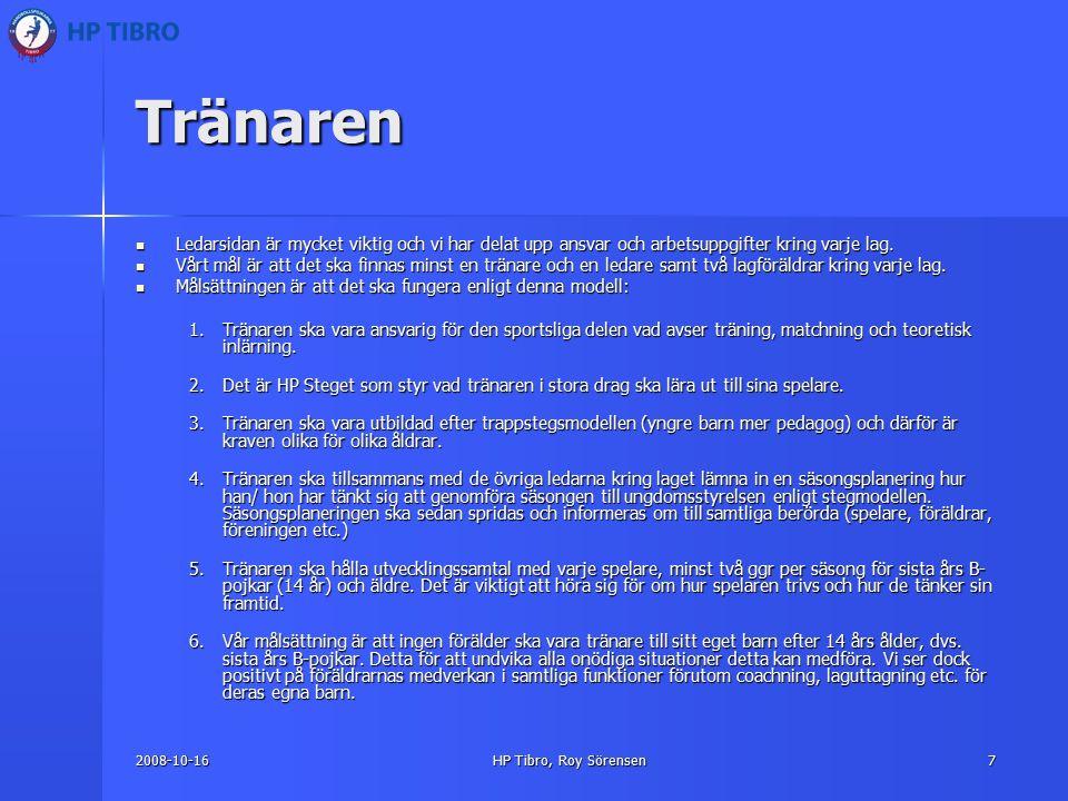 2008-10-16HP Tibro, Roy Sörensen7 Tränaren Ledarsidan är mycket viktig och vi har delat upp ansvar och arbetsuppgifter kring varje lag.