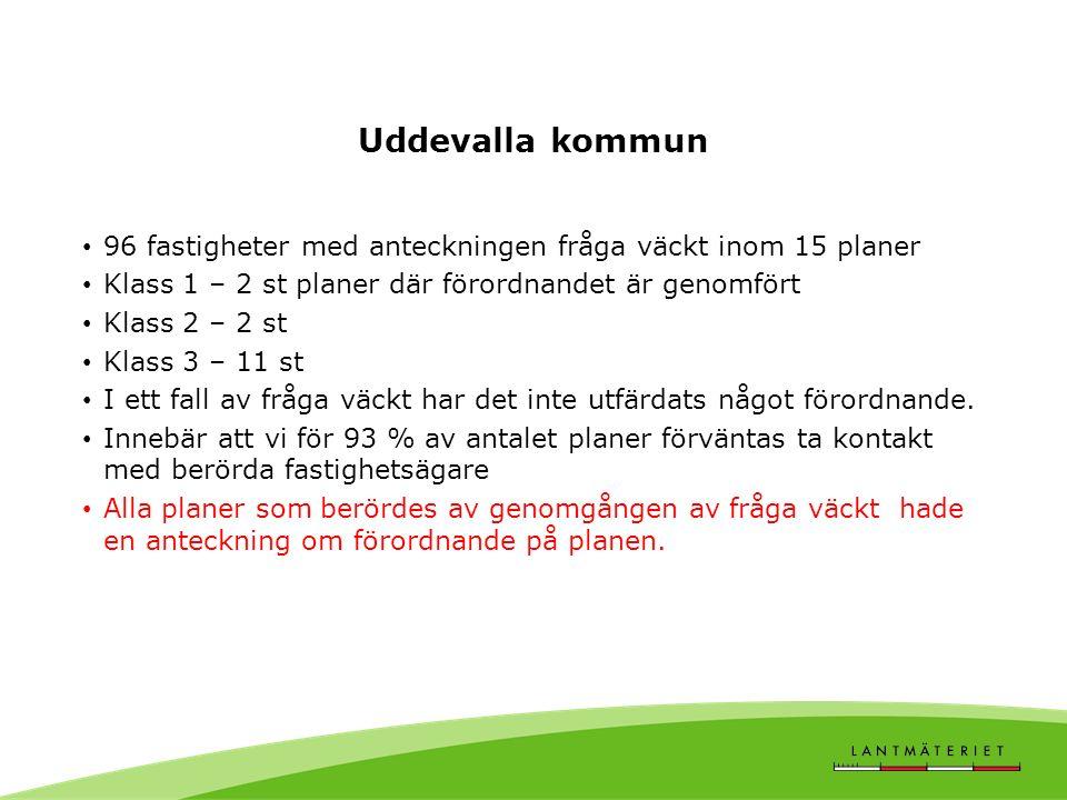 Uddevalla kommun 96 fastigheter med anteckningen fråga väckt inom 15 planer Klass 1 – 2 st planer där förordnandet är genomfört Klass 2 – 2 st Klass 3 – 11 st I ett fall av fråga väckt har det inte utfärdats något förordnande.