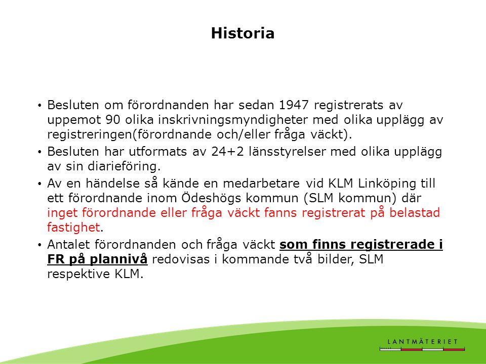Historia Besluten om förordnanden har sedan 1947 registrerats av uppemot 90 olika inskrivningsmyndigheter med olika upplägg av registreringen(förordnande och/eller fråga väckt).
