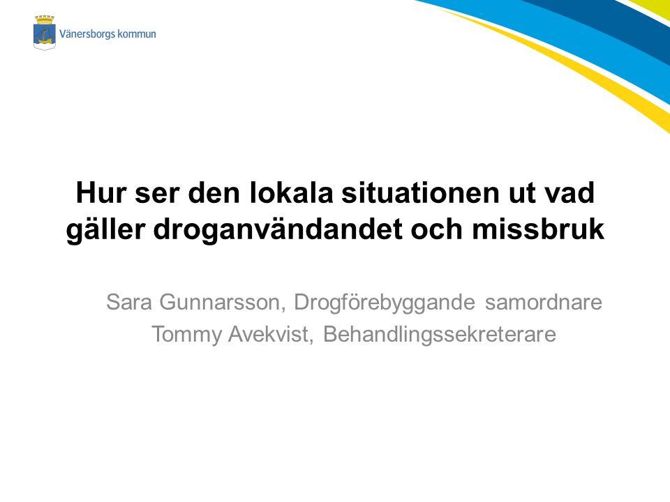 Hur ser den lokala situationen ut vad gäller droganvändandet och missbruk Sara Gunnarsson, Drogförebyggande samordnare Tommy Avekvist, Behandlingssekreterare