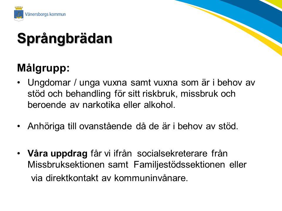 Språngbrädan Målgrupp: Ungdomar / unga vuxna samt vuxna som är i behov av stöd och behandling för sitt riskbruk, missbruk och beroende av narkotika eller alkohol.