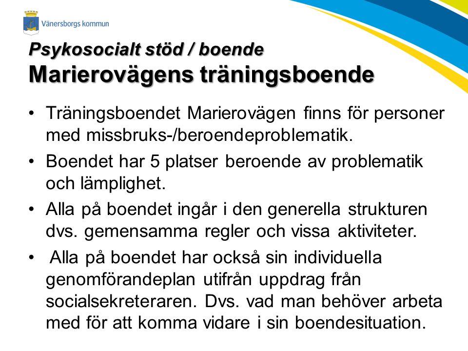 Psykosocialt stöd / boende Marierovägens träningsboende Träningsboendet Marierovägen finns för personer med missbruks-/beroendeproblematik.