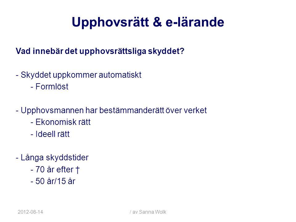 2012-08-14/ av Sanna Wolk Rätten till anställda lärares upphovsrätt: - Utgångspunkten är att upphovsrätten tillhör läraren/forskaren (sedvana, tumregeln) -Universitetet bestämmer omfattningen av u-skyldigheten -Läraren väljer normalt själv om undervisningsmaterial ska skapas och publiceras - Dock, arbetsledningsrätten kan nog innebära att lärare får spelas in.