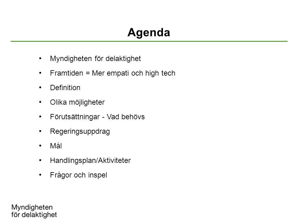 Agenda Myndigheten för delaktighet Framtiden = Mer empati och high tech Definition Olika möjligheter Förutsättningar - Vad behövs Regeringsuppdrag Mål