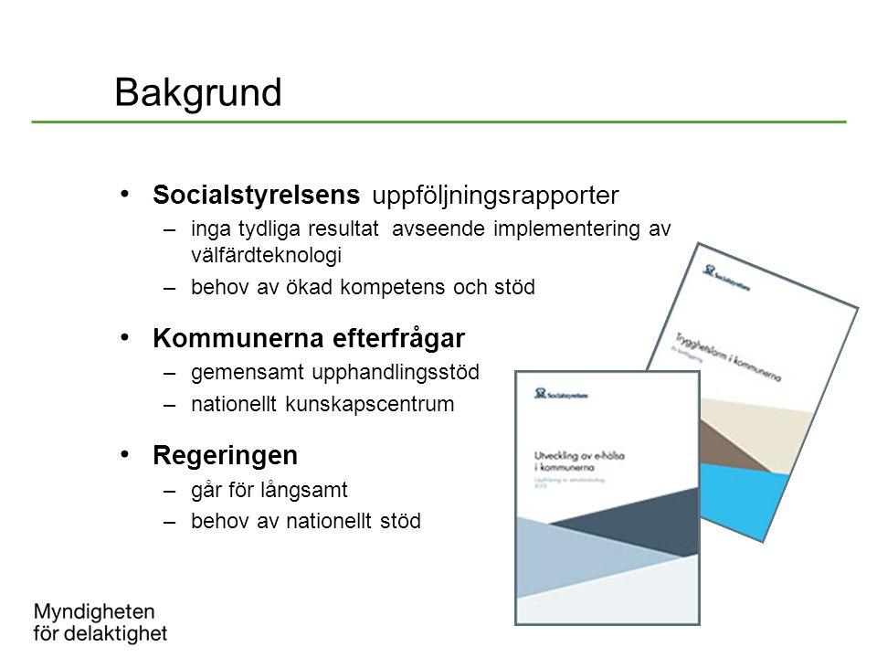 Bakgrund Socialstyrelsens uppföljningsrapporter –inga tydliga resultat avseende implementering av välfärdteknologi –behov av ökad kompetens och stöd K