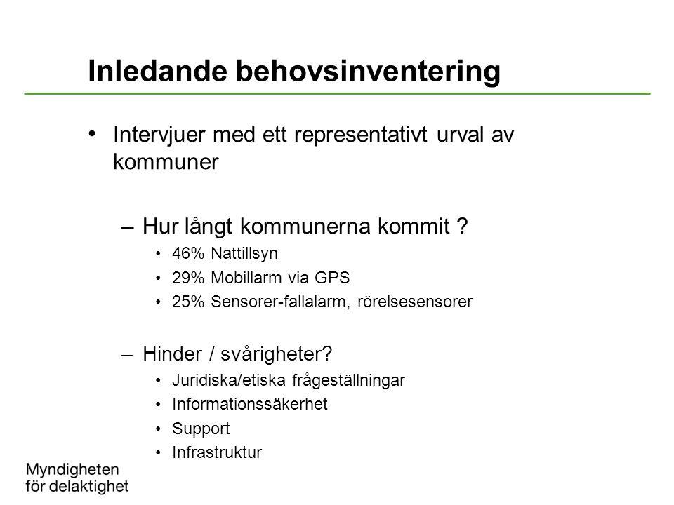 Inledande behovsinventering Intervjuer med ett representativt urval av kommuner –Hur långt kommunerna kommit ? 46% Nattillsyn 29% Mobillarm via GPS 25