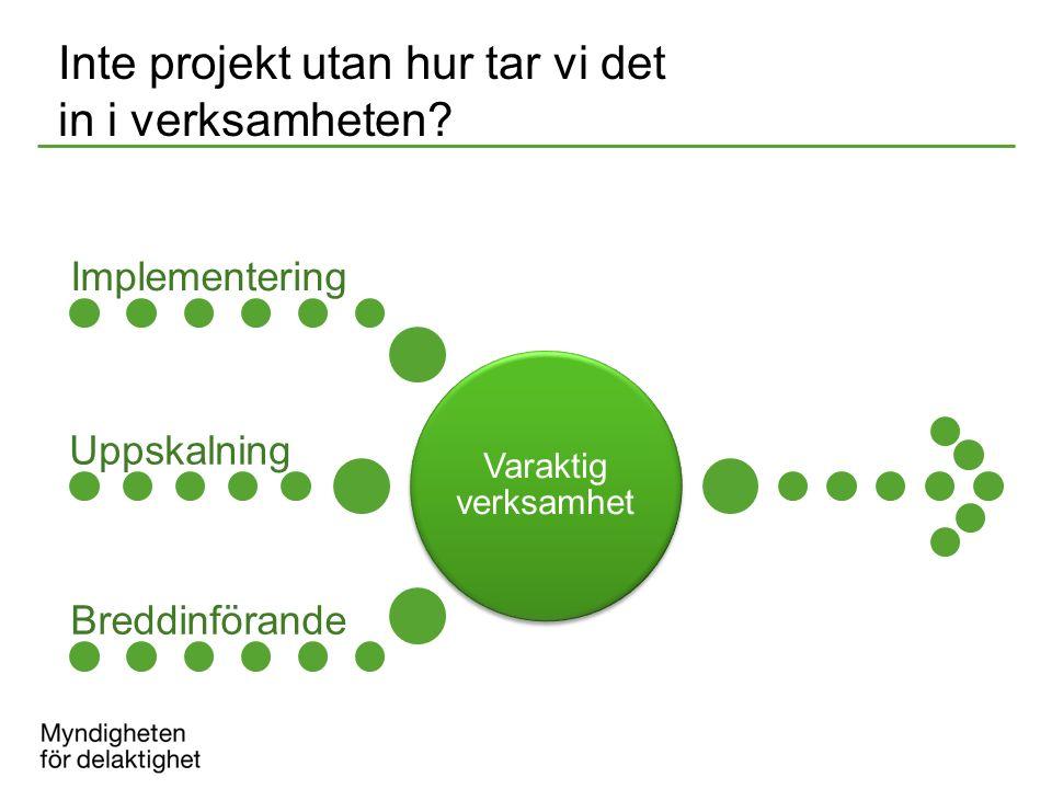 Inte projekt utan hur tar vi det in i verksamheten? Varaktig verksamhet Implementering Uppskalning Breddinförande