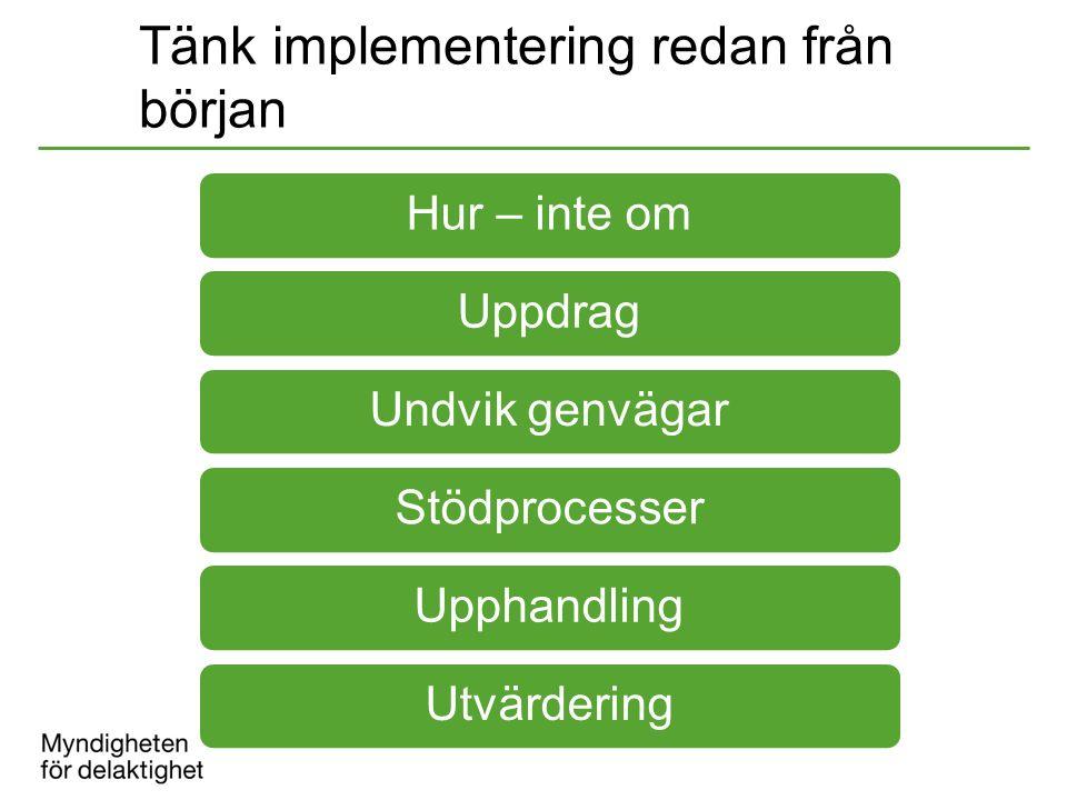Tänk implementering redan från början Hur – inte omUppdragUndvik genvägarStödprocesserUpphandlingUtvärdering