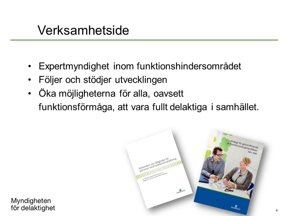 4 Expertmyndighet inom funktionshindersområdet Följer och stödjer utvecklingen Öka möjligheterna för alla, oavsett funktionsförmåga, att vara fullt de