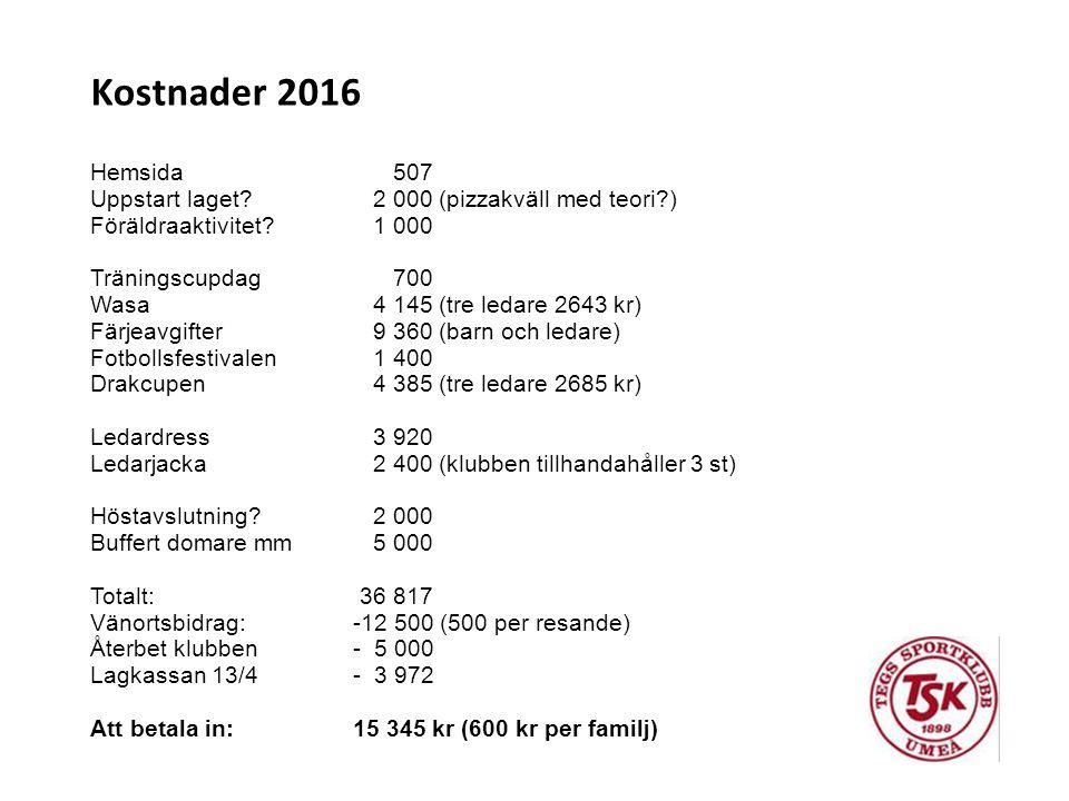 Kostnader 2016 Hemsida 507 Uppstart laget? 2 000 (pizzakväll med teori?) Föräldraaktivitet? 1 000 Träningscupdag 700 Wasa 4 145 (tre ledare 2643 kr) F