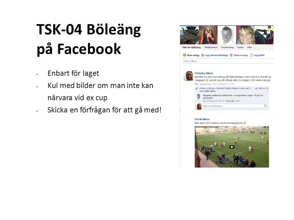 TSK-04 Böleäng på Facebook Enbart för laget Kul med bilder om man inte kan närvara vid ex cup Skicka en förfrågan för att gå med!