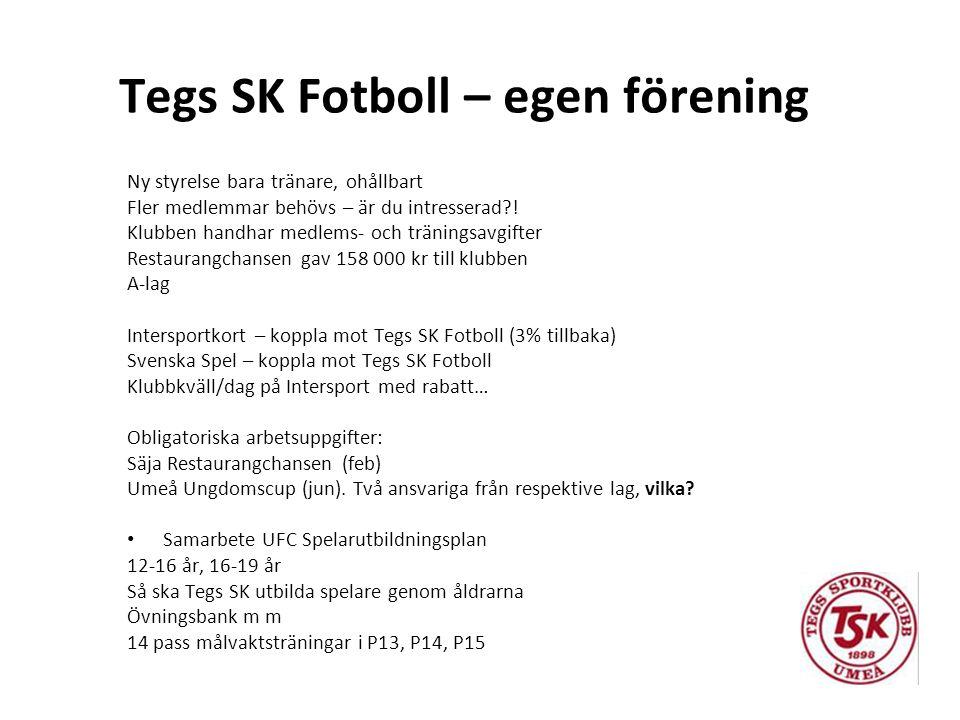 Tegs SK Fotboll – egen förening Ny styrelse bara tränare, ohållbart Fler medlemmar behövs – är du intresserad?! Klubben handhar medlems- och träningsa