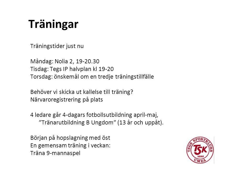 Träningar Träningstider just nu Måndag: Nolia 2, 19-20.30 Tisdag: Tegs IP halvplan kl 19-20 Torsdag: önskemål om en tredje träningstillfälle Behöver vi skicka ut kallelse till träning.