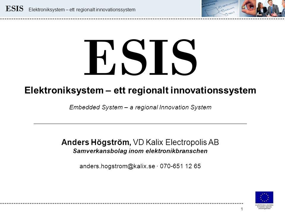 Elektroniksystem – ett regionalt innovationssystem 1 Embedded System – a regional Innovation System Anders Högström, VD Kalix Electropolis AB Samverkansbolag inom elektronikbranschen anders.hogstrom@kalix.se · 070-651 12 65