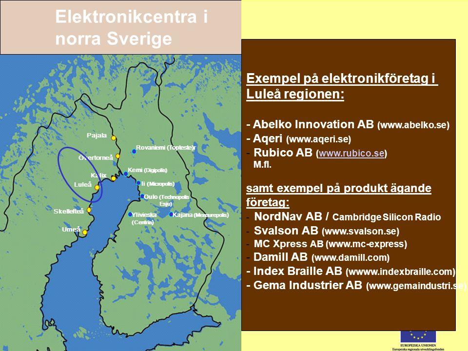Elektroniksystem – ett regionalt innovationssystem 12 Pajala Övertorneå Kalix Luleå Skellefteå Umeå Rovaniemi (Topteste)r Kemi (Digipolis) Kajana (Mea
