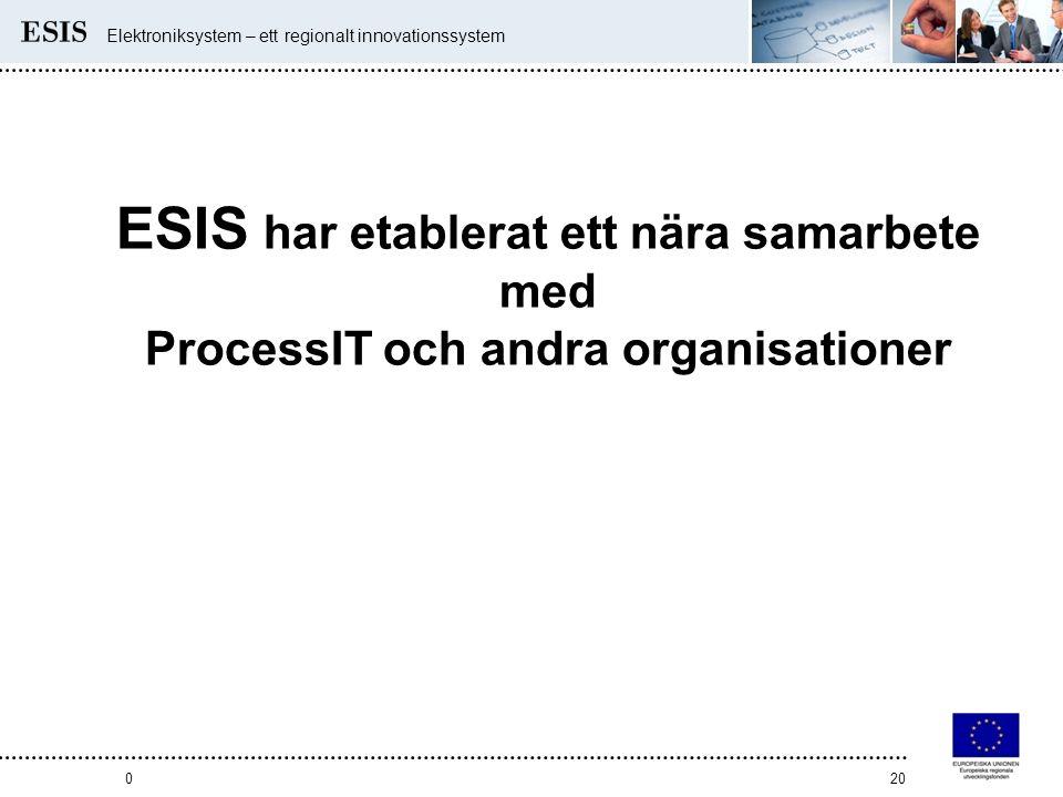 Elektroniksystem – ett regionalt innovationssystem 020 ESIS har etablerat ett nära samarbete med ProcessIT och andra organisationer
