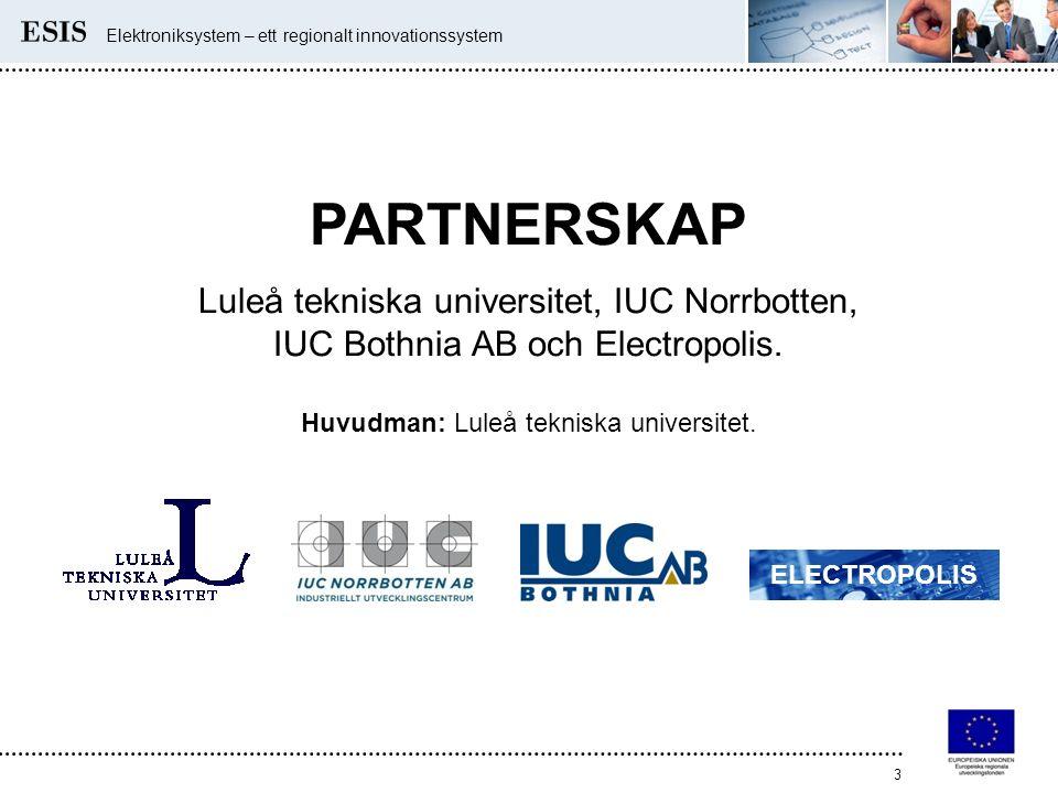 Elektroniksystem – ett regionalt innovationssystem 3 PARTNERSKAP Luleå tekniska universitet, IUC Norrbotten, IUC Bothnia AB och Electropolis. Huvudman
