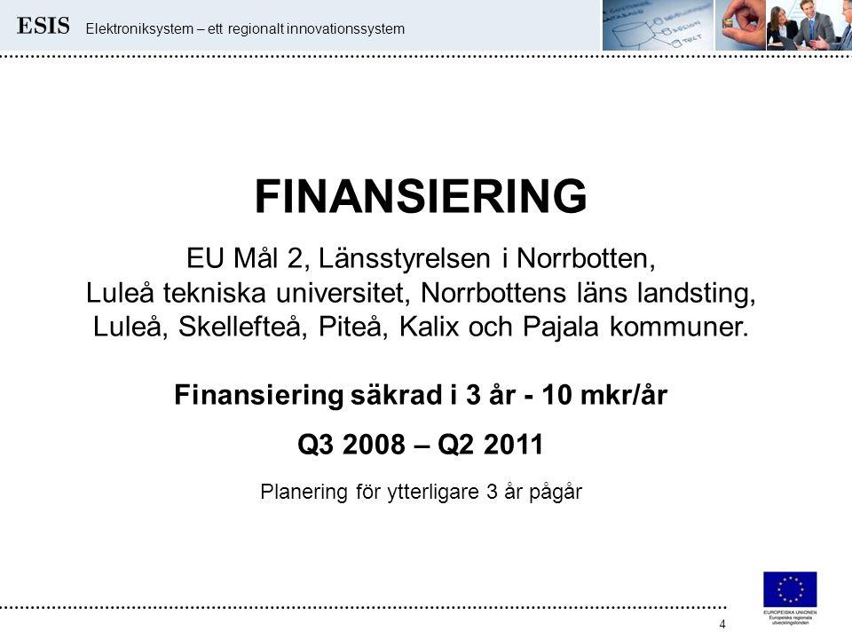 Elektroniksystem – ett regionalt innovationssystem 4 FINANSIERING EU Mål 2, Länsstyrelsen i Norrbotten, Luleå tekniska universitet, Norrbottens läns l