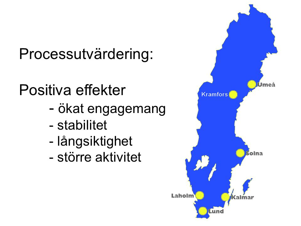 Processutvärdering: Positiva effekter - ökat engagemang - stabilitet - långsiktighet - större aktivitet