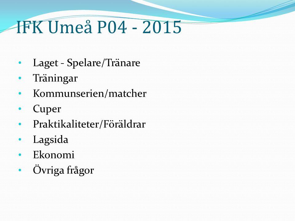 IFK Umeå P04 - 2015 Laget - Spelare/Tränare Träningar Kommunserien/matcher Cuper Praktikaliteter/Föräldrar Lagsida Ekonomi Övriga frågor
