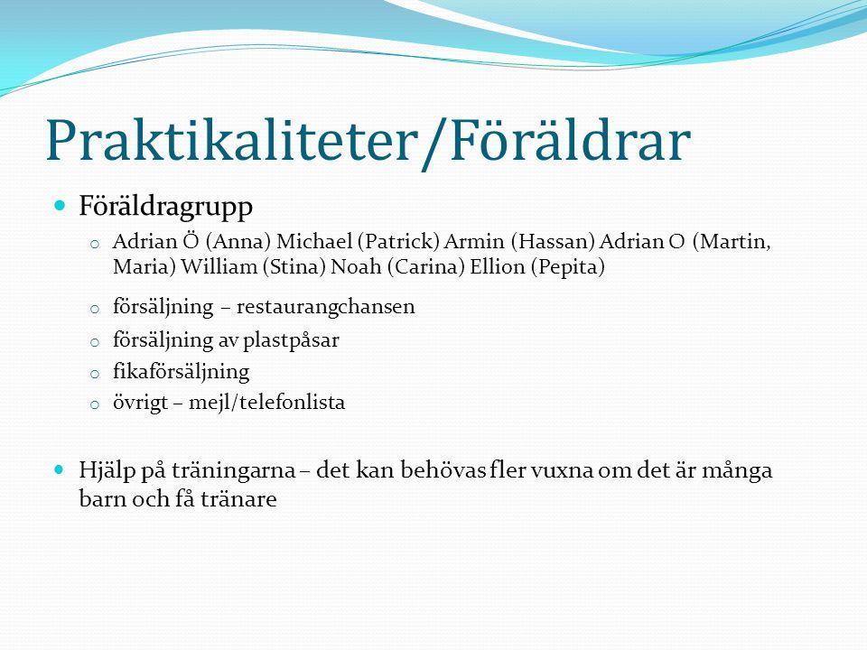 Praktikaliteter/Föräldrar Föräldragrupp o Adrian Ö (Anna) Michael (Patrick) Armin (Hassan) Adrian O (Martin, Maria) William (Stina) Noah (Carina) Elli