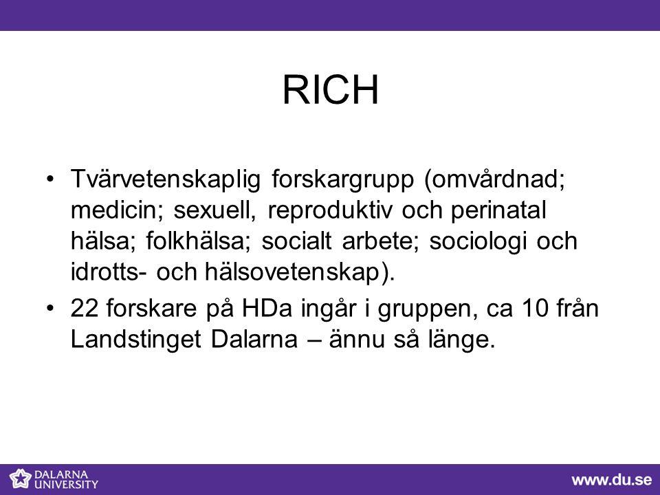 RICH Tvärvetenskaplig forskargrupp (omvårdnad; medicin; sexuell, reproduktiv och perinatal hälsa; folkhälsa; socialt arbete; sociologi och idrotts- och hälsovetenskap).