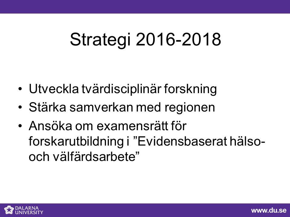 Strategi 2016-2018 Utveckla tvärdisciplinär forskning Stärka samverkan med regionen Ansöka om examensrätt för forskarutbildning i Evidensbaserat hälso- och välfärdsarbete