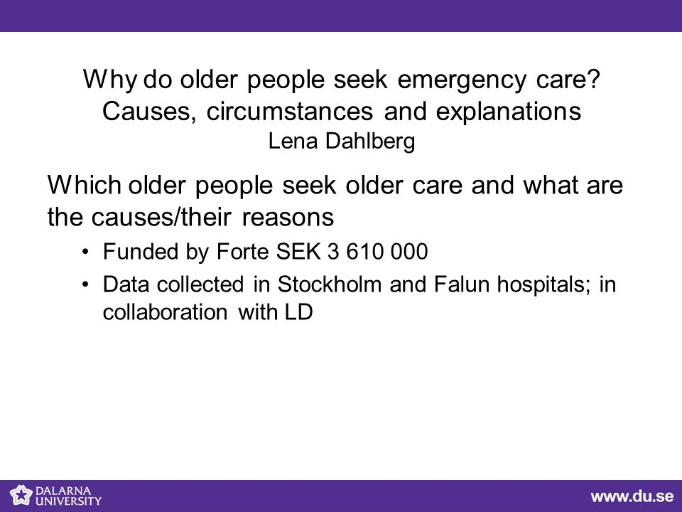 Why do older people seek emergency care.