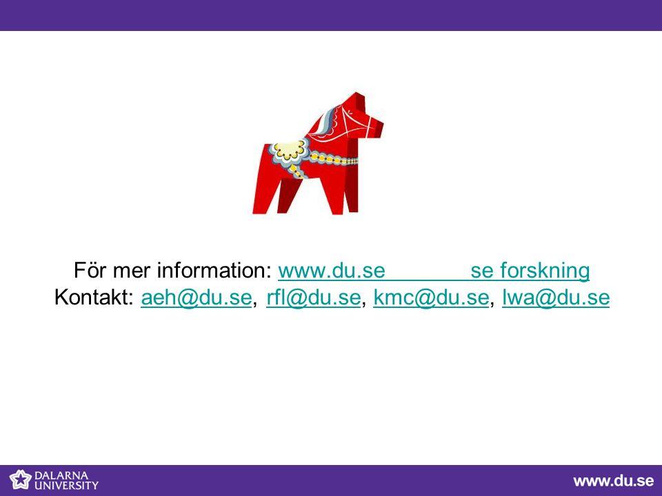 För mer information: www.du.se se forskning Kontakt: aeh@du.se, rfl@du.se, kmc@du.se, lwa@du.sewww.du.se se forskningaeh@du.serfl@du.sekmc@du.selwa@du.se