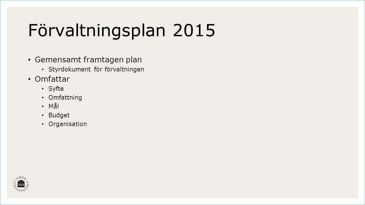 Förvaltningsplan 2015 Gemensamt framtagen plan Styrdokument för förvaltningen Omfattar Syfte Omfattning Mål Budget Organisation