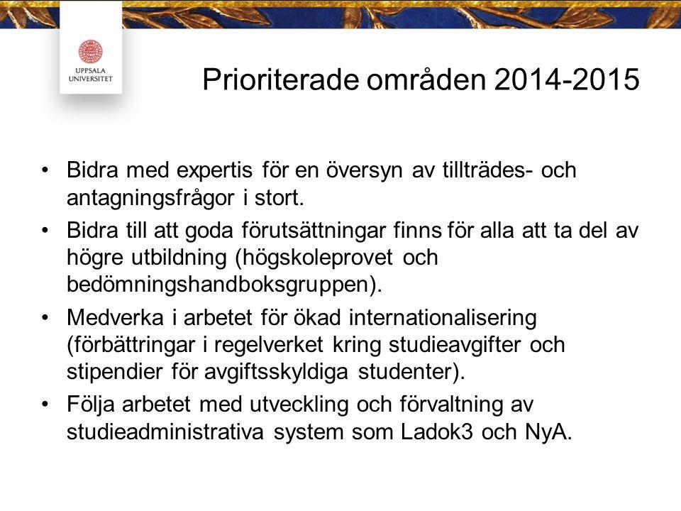 Prioriterade områden 2014-2015 Bidra med expertis för en översyn av tillträdes- och antagningsfrågor i stort.