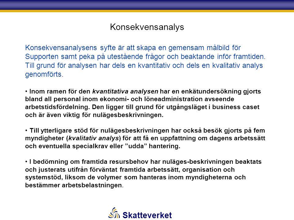 Skatteverket Konsekvensanalys Konsekvensanalysens syfte är att skapa en gemensam målbild för Supporten samt peka på utestående frågor och beaktande in