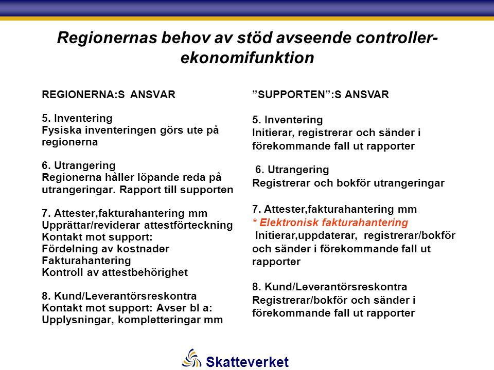 Skatteverket Regionernas behov av stöd avseende controller- ekonomifunktion REGIONERNA:S ANSVAR 5.