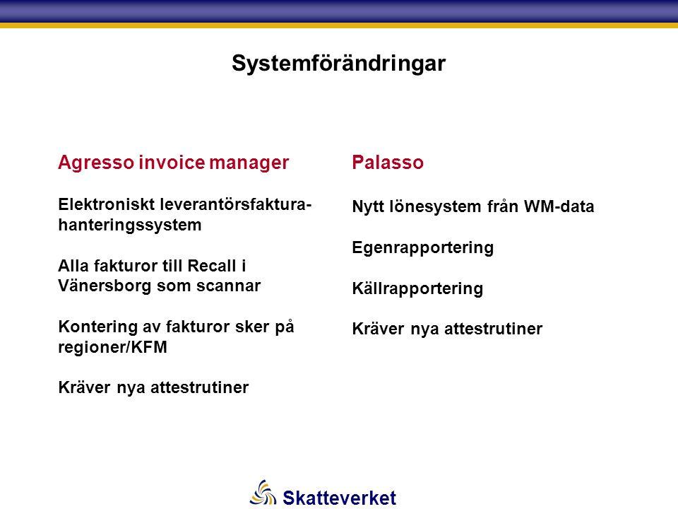Skatteverket Systemförändringar Agresso invoice manager Elektroniskt leverantörsfaktura- hanteringssystem Alla fakturor till Recall i Vänersborg som scannar Kontering av fakturor sker på regioner/KFM Kräver nya attestrutiner Palasso Nytt lönesystem från WM-data Egenrapportering Källrapportering Kräver nya attestrutiner