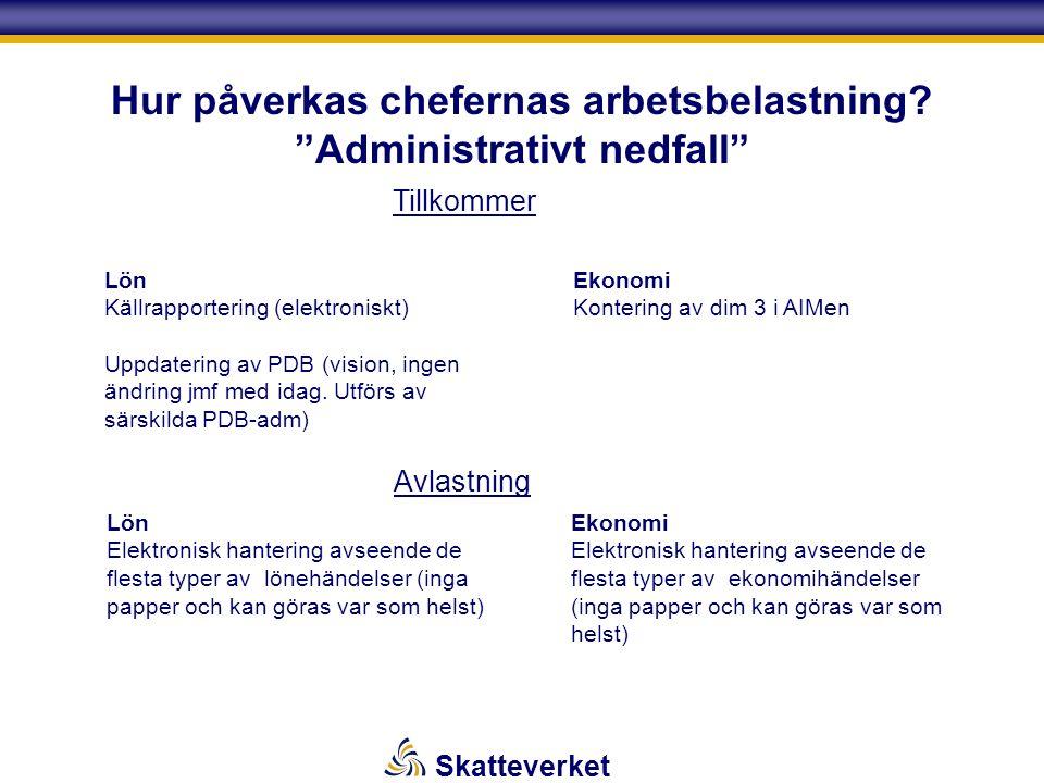 """Skatteverket Hur påverkas chefernas arbetsbelastning? """"Administrativt nedfall"""" Lön Källrapportering (elektroniskt) Uppdatering av PDB (vision, ingen ä"""