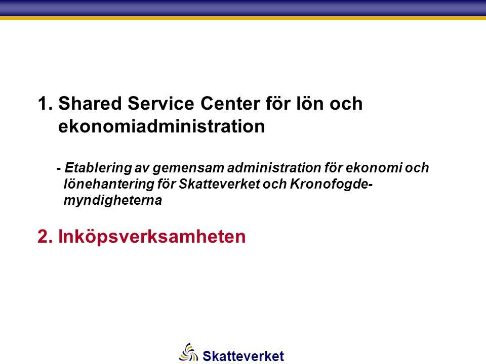 Skatteverket 1. Shared Service Center för lön och ekonomiadministration - Etablering av gemensam administration för ekonomi och lönehantering för Skat
