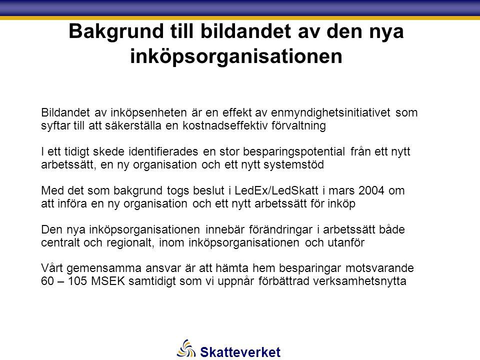 Skatteverket Bakgrund till bildandet av den nya inköpsorganisationen Bildandet av inköpsenheten är en effekt av enmyndighetsinitiativet som syftar till att säkerställa en kostnadseffektiv förvaltning I ett tidigt skede identifierades en stor besparingspotential från ett nytt arbetssätt, en ny organisation och ett nytt systemstöd Med det som bakgrund togs beslut i LedEx/LedSkatt i mars 2004 om att införa en ny organisation och ett nytt arbetssätt för inköp Den nya inköpsorganisationen innebär förändringar i arbetssätt både centralt och regionalt, inom inköpsorganisationen och utanför Vårt gemensamma ansvar är att hämta hem besparingar motsvarande 60 – 105 MSEK samtidigt som vi uppnår förbättrad verksamhetsnytta
