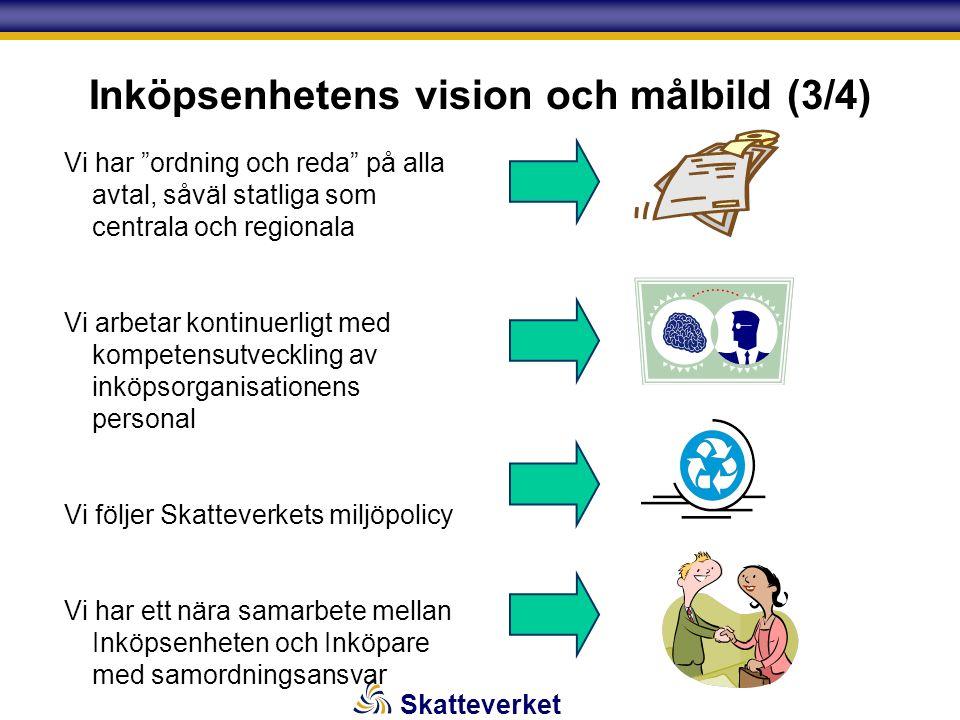 """Skatteverket Inköpsenhetens vision och målbild (3/4) Vi har """"ordning och reda"""" på alla avtal, såväl statliga som centrala och regionala Vi arbetar kon"""