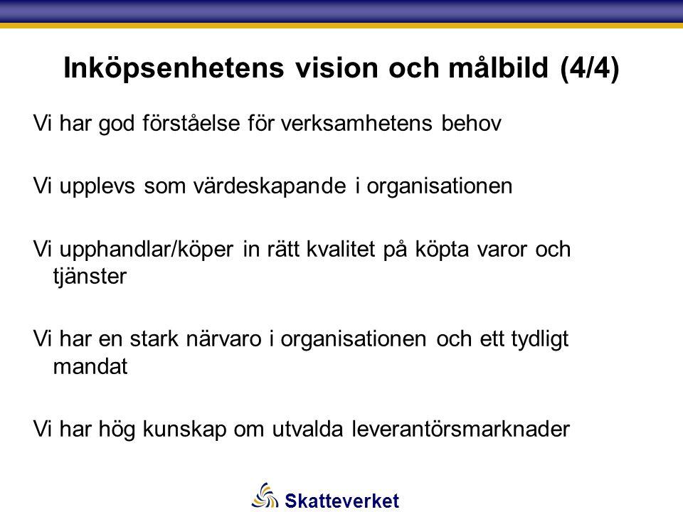 Skatteverket Inköpsenhetens vision och målbild (4/4) Vi har god förståelse för verksamhetens behov Vi upplevs som värdeskapande i organisationen Vi up