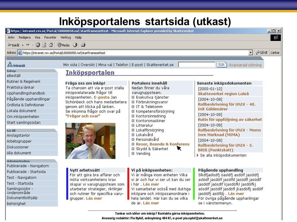 Skatteverket Inköpsportalens startsida (utkast)