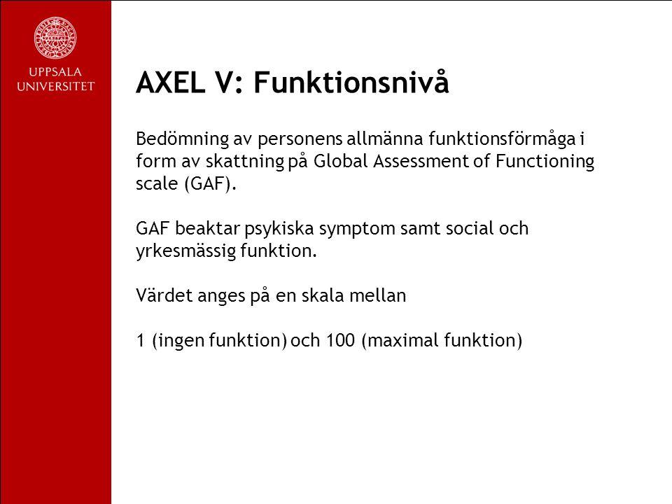 AXEL V: Funktionsnivå Bedömning av personens allmänna funktionsförmåga i form av skattning på Global Assessment of Functioning scale (GAF).