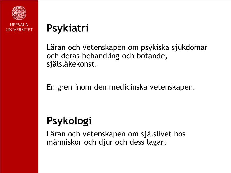 Psykiatri Läran och vetenskapen om psykiska sjukdomar och deras behandling och botande, själsläkekonst.