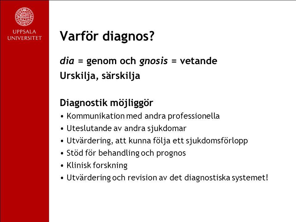 Diagnostisk process Vetenskaplig modell Problem och hypotes Datainsamling Tolkning Replikering – Stämmer diagnosen.