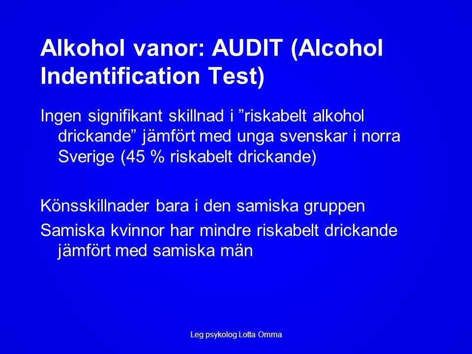 Alkohol vanor: AUDIT (Alcohol Indentification Test) Ingen signifikant skillnad i riskabelt alkohol drickande jämfört med unga svenskar i norra Sverige (45 % riskabelt drickande) Könsskillnader bara i den samiska gruppen Samiska kvinnor har mindre riskabelt drickande jämfört med samiska män Leg psykolog Lotta Omma
