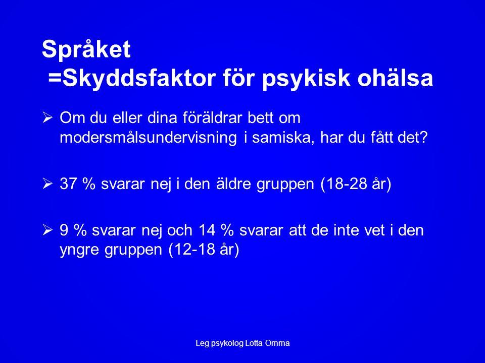 Språket =Skyddsfaktor för psykisk ohälsa  Om du eller dina föräldrar bett om modersmålsundervisning i samiska, har du fått det.