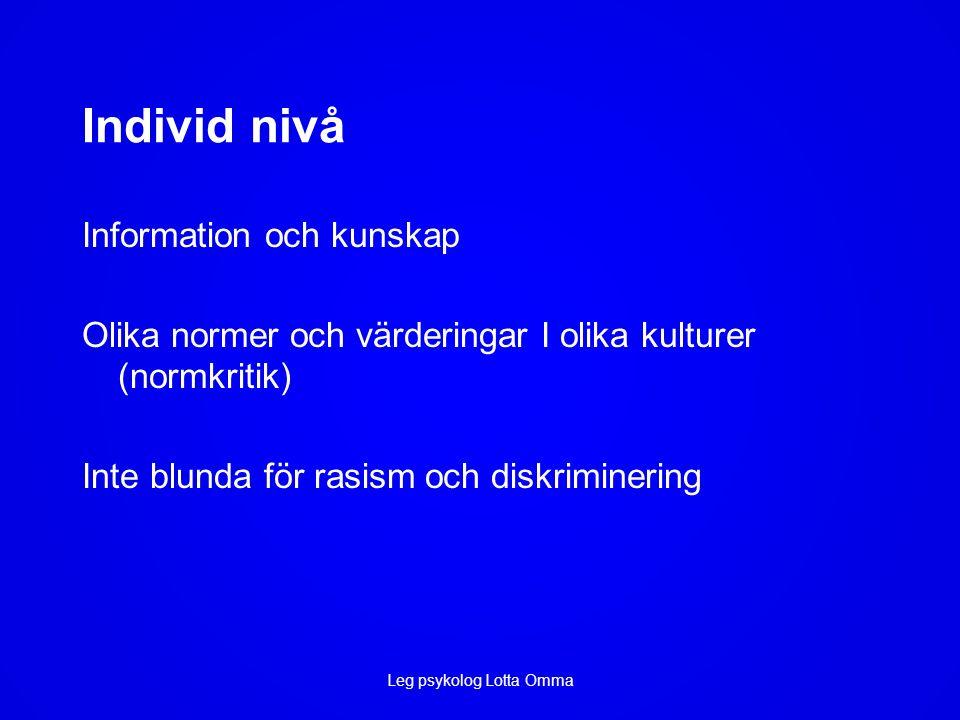 Individ nivå Information och kunskap Olika normer och värderingar I olika kulturer (normkritik) Inte blunda för rasism och diskriminering Leg psykolog Lotta Omma