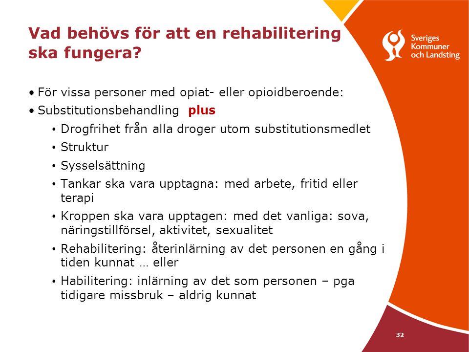 Vad behövs för att en rehabilitering ska fungera.
